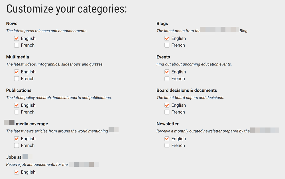 Client 2 subscription center categories before